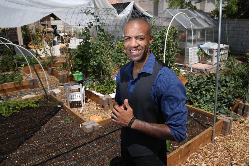 Las Vegas police officer David Anthony, who was named PETA's Sexiest Vegan Next Door for 2018, at his home garden in North Las Vegas, Wednesday, July 11, 2018. Erik Verduzco Las Vegas Review-Journ ...
