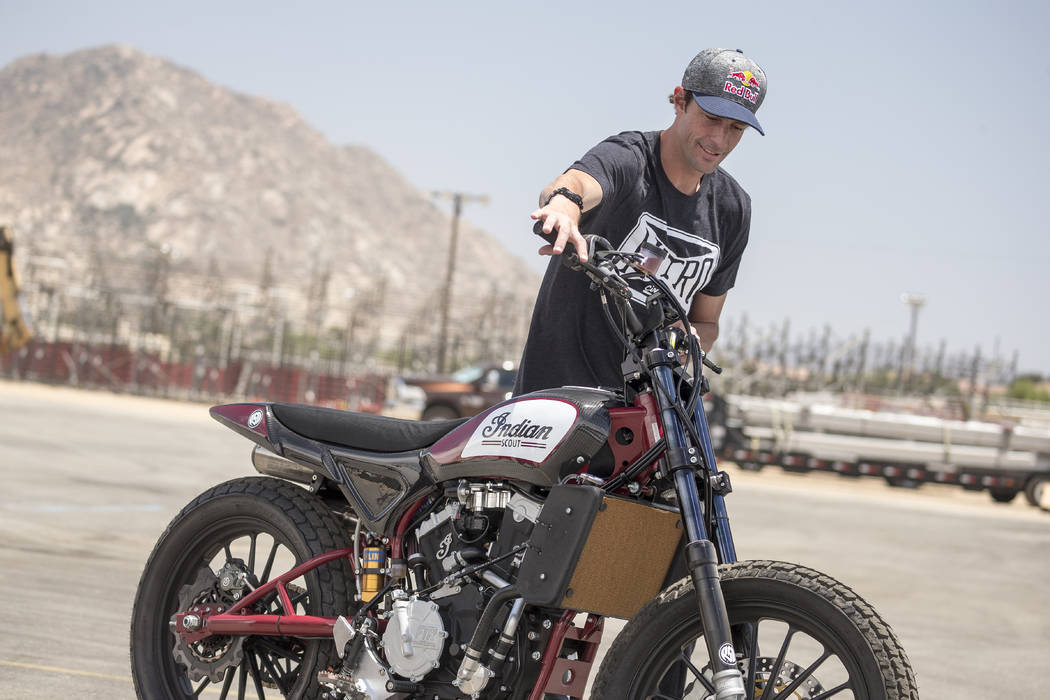 Motorsports superstar Travis Pastrana riding the Indian Scout FTR750 for HISTORY's Evel Live airing live on July 8. Photo by Chris Tedesco Copyright 2018