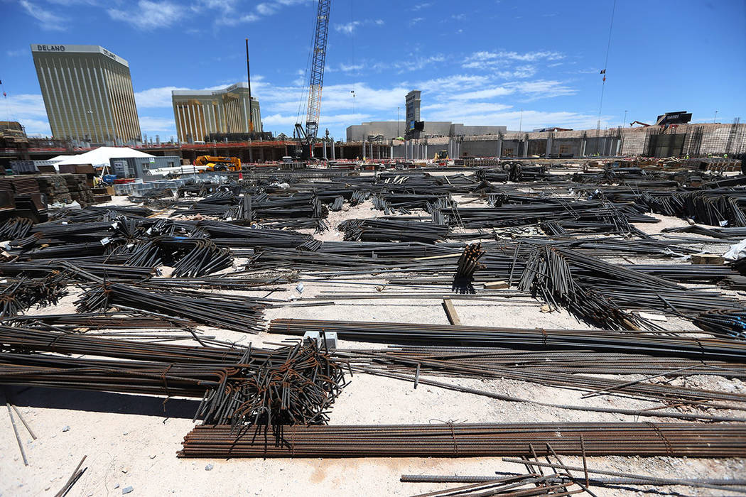 The construction site for the future Raiders stadium in Las Vegas, Thursday, June 28, 2018. Erik Verduzco Las Vegas Review-Journal @Erik_Verduzco
