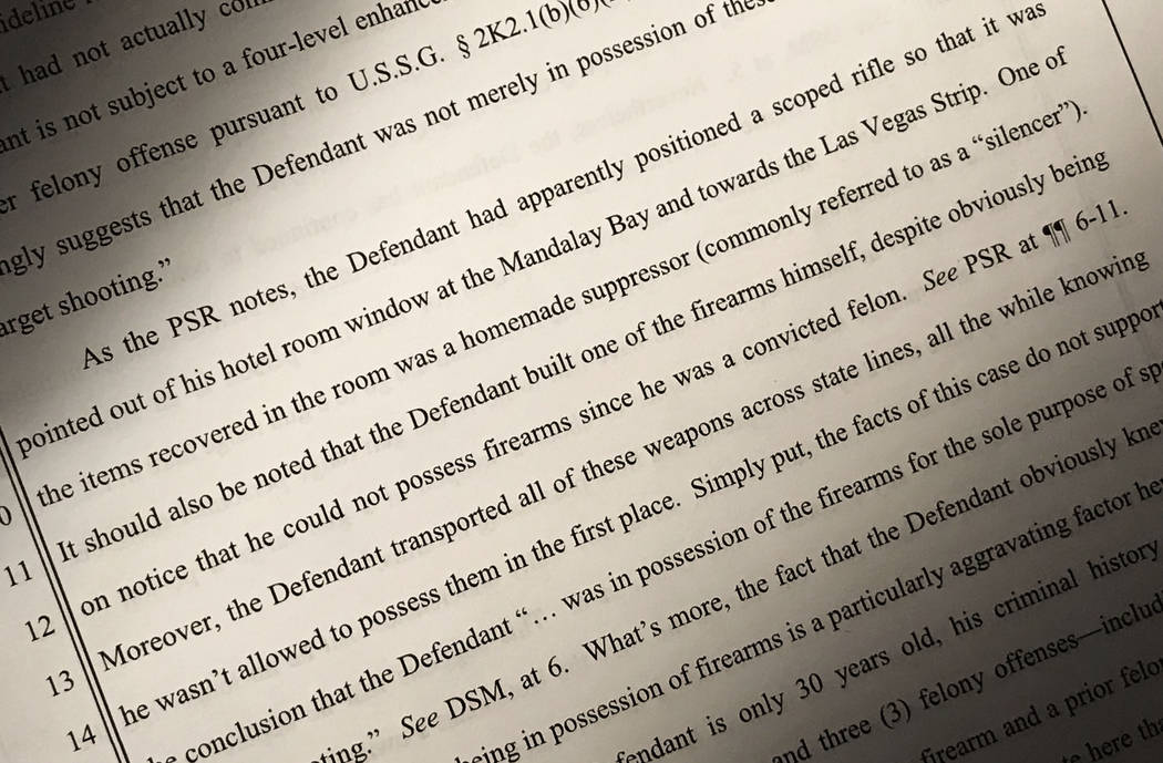 An excerpt from a document filed by federal prosecutors in December 2015 in a criminal case against Kye Dunbar. (David Guzman/Las Vegas Review-Journal)