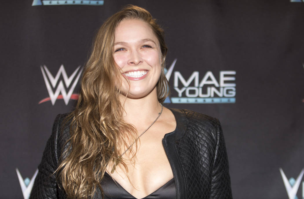 Former UFC women's bantamweight champion Ronda Rousey on the red carpet at the WWE Mae Young Classic event at the Thomas & Mack Center in Las Vegas, Tuesday, Sept. 12, 2017. Heidi Fang Las Veg ...