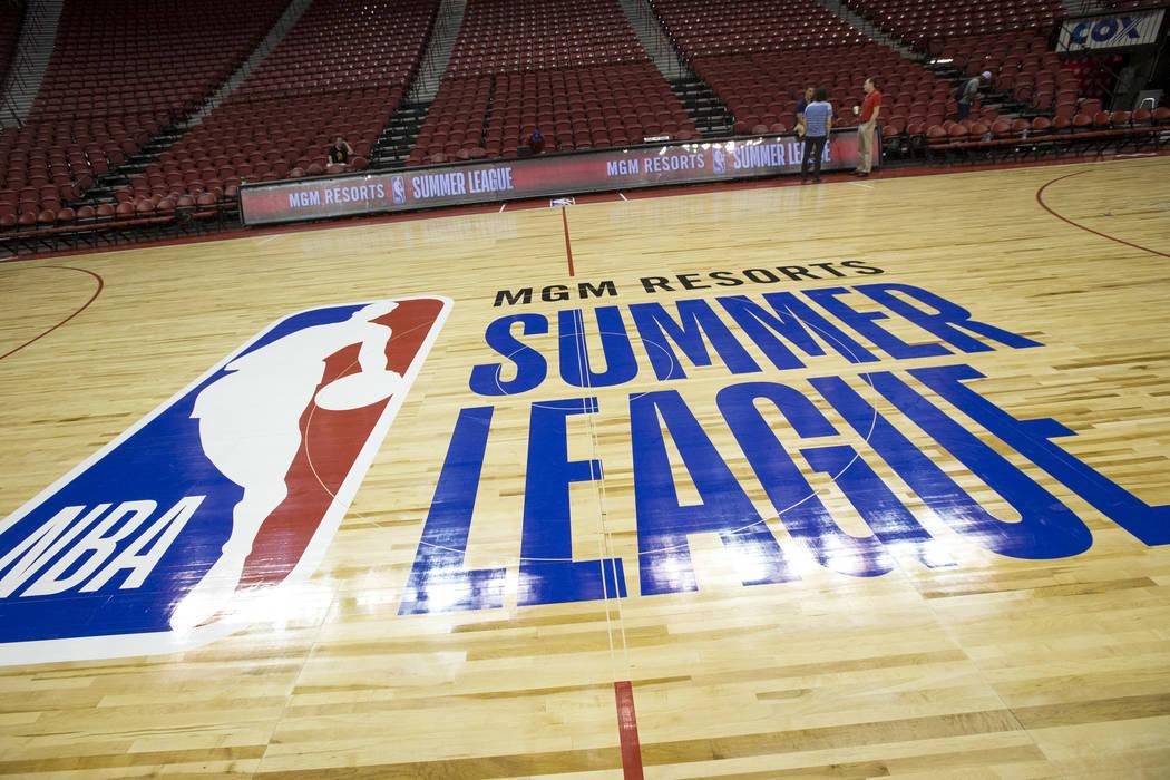 The court for the 2018 NBA Summer League basketball tournament at the Thomas & Mack Center in Las Vegas on Thursday, July 5, 2018. Richard Brian Las Vegas Review-Journal @vegasphotograph