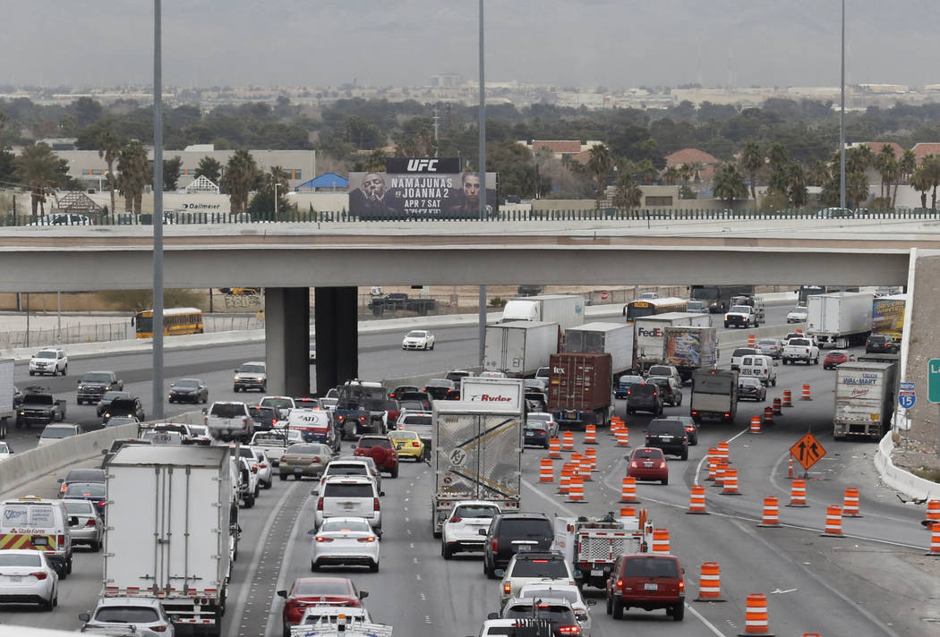 "The ""Main Event,"" the $1 billion reconfiguration of the Spaghetti Bowl interchange of Interstate 15 and U.S. Highway 95, is about halfway completed in Las Vegas. (Bizuayehu Tesfaye/Las Vegas R ..."