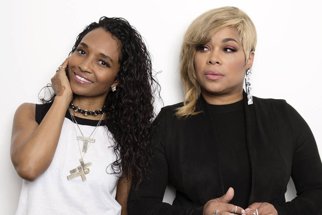 "In this June 9, 2017 photo, Rozonda ""Chilli"" Thomas, left, and Tionne ""T-Boz"" Watkins of TLC pose for a portrait in New York to promote their self-titled album. (Photo by Tay ..."
