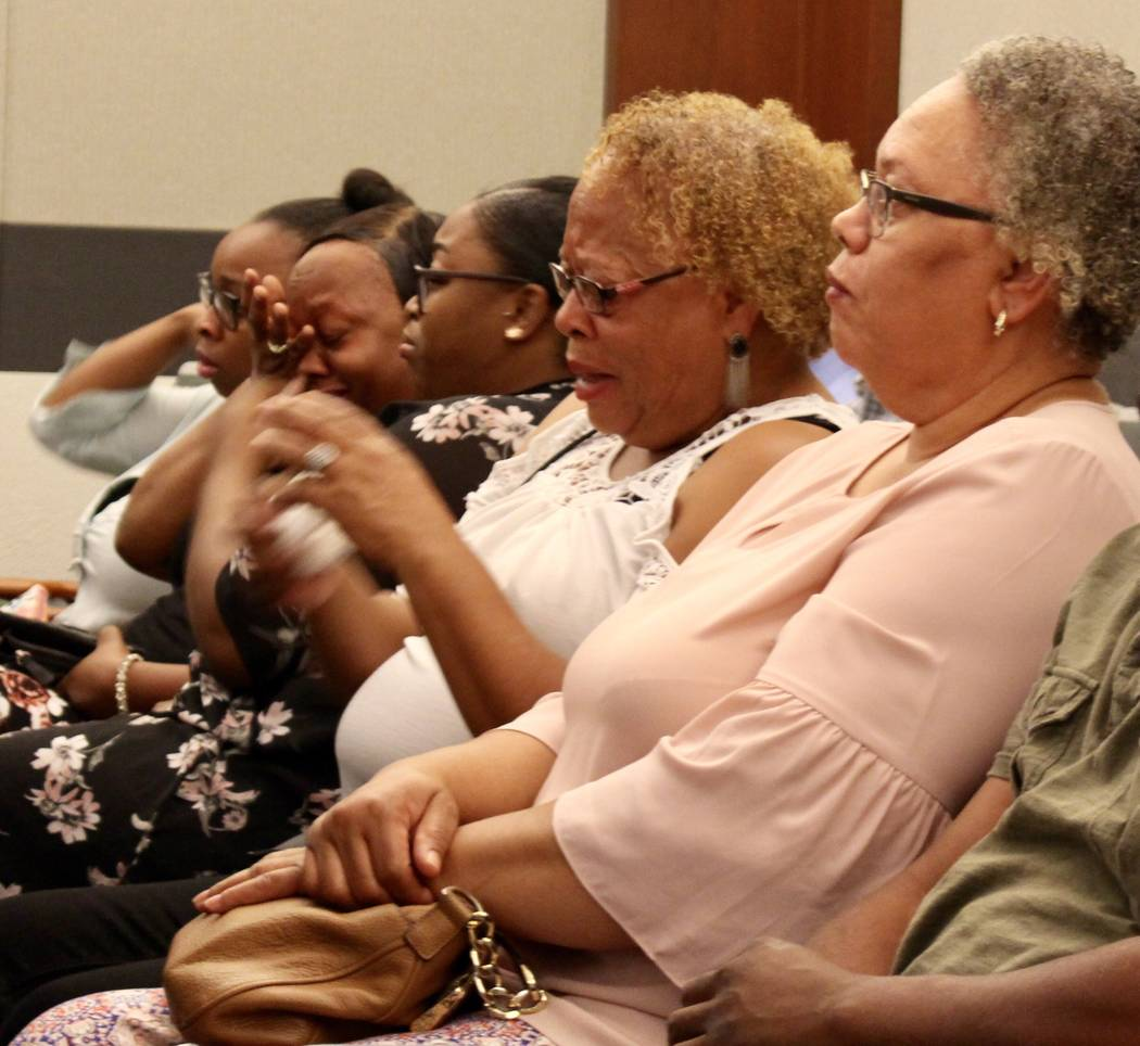 Keith Barlow's sister, Linda Abercrombie, right, sits with other family members as the verdict is read in the capital murder trial of Keith Barlow at the Regional Justice Center in Las Vegas on Fr ...