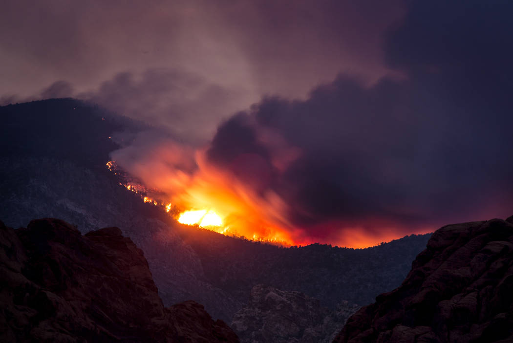 Smoke from the Carpenter 1 Fire as seen Wednesday, July 10, 2013 on The Red Rock Canyon road and Calico Basin. (Jeff Scheid/Las Vegas Review-Journal)