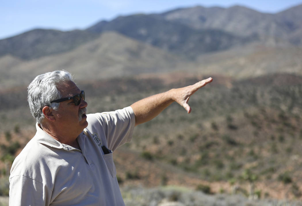 James Hurja, U.S. Forest Service soil scientist, talks about the aftermath of the Carpenter 1 fire in the Spring Mountains National Recreation Area on Friday, July 6, 2018. Chase Stevens Las Vegas ...