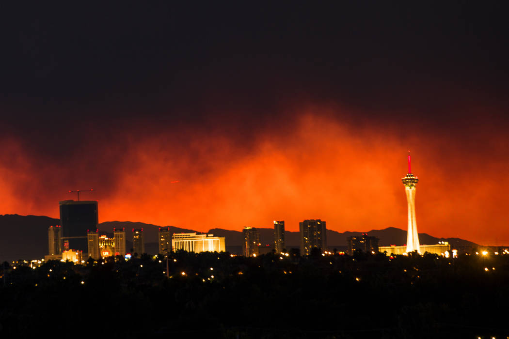 The smoke from the Carpenter 1 Fire over Las Vegas on Monday, April 8, 2013. (Jeff Scheid/Las Vegas Review-Journal)