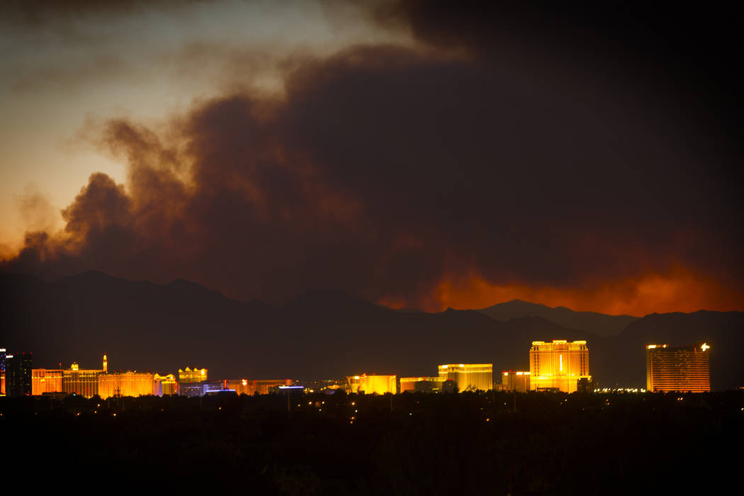 The smoke from the Carpenter 1 Fire over Las Vegas on Monday, April 8, 2013. The fire located 25 miles west of Las Vegas has burned 24-square miles. (Jeff Scheid/Las Vegas Review-Journal) Jeff ...