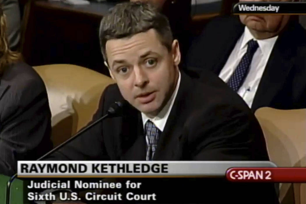 In this May 7, 2008, image, Raymond Kethledge testifies during his confirmation hearing for the Sixth U.S. Circuit Court on Capitol Hill in Washington. (C-SPAN via AP)
