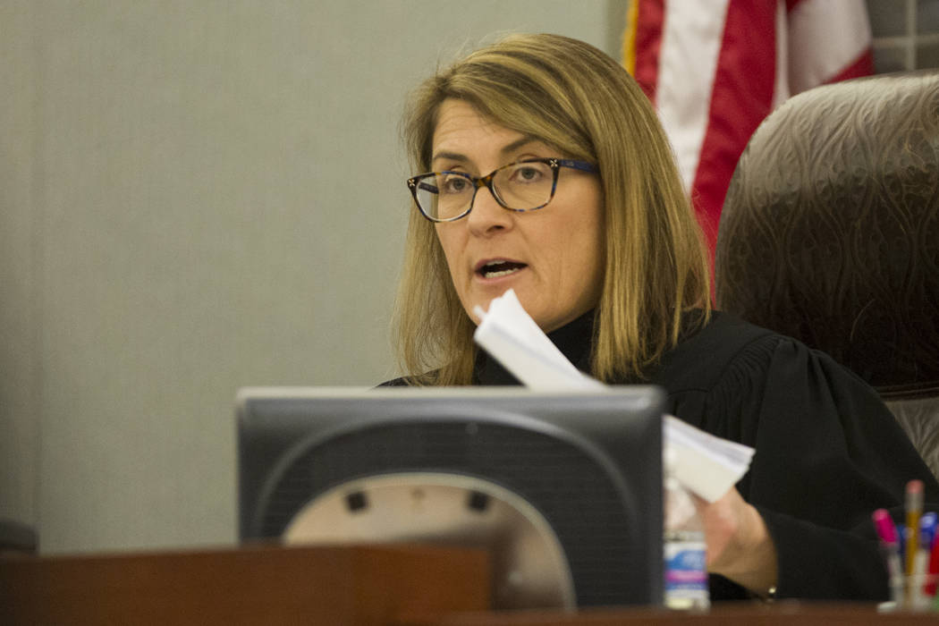 District Judge Jennifer Togliatti speaks during a court hearing for death row inmate Scott Dozier at the Regional Justice Center in Las Vegas on Dec. 5, 2017. Togliatti signed Dozier's execution w ...