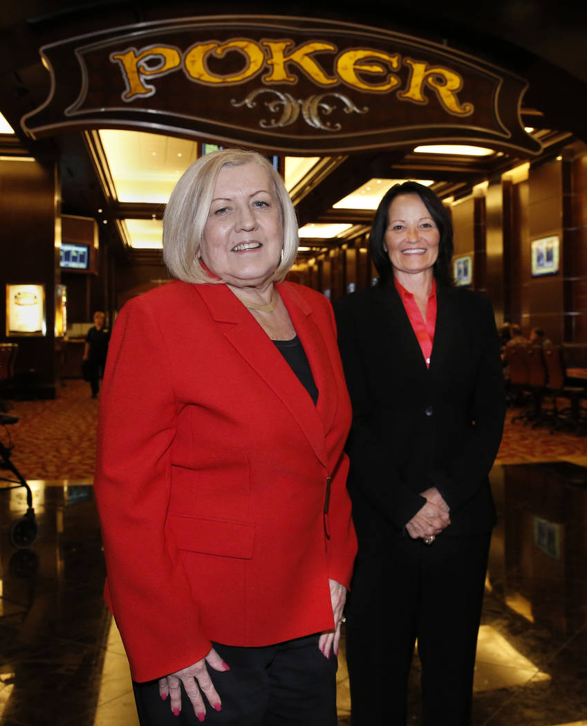 Kathy Raymond, left, and Tracy Mendiola, both poker rooms managers at the Station Casinos, pose for photo at Green Valley Ranch poker room on Friday, July 6, 2018, in Henderson. Bizuayehu Tesfaye/ ...