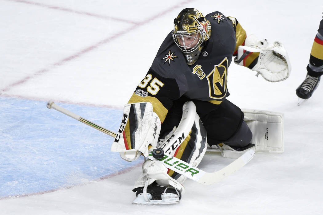 Vegas Golden Knights goalie Oscar Dansk (35) makes a save during their game against the St. Louis Blues Saturday, October 21, 2017, at T-Mobile Arena in Las Vegas. The Knights won the game 3-2 in ...