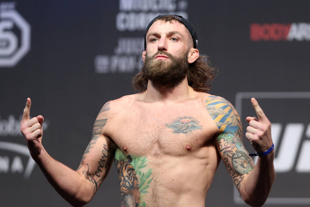Michael Chiesa during the UFC 226 ceremonial weigh-in event at T-Mobile Arena in Las Vegas, Friday, July 6, 2018. Erik Verduzco Las Vegas Review-Journal @Erik_Verduzco