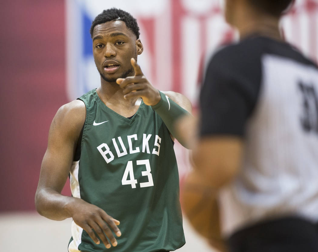 Bucks center Brandon McCoy (43) gives direction to his teammates during Milwaukee's game with the Detroit Pistons during NBA Summer League on Friday, July 6, 2018, at Cox Pavilion, in Las Vegas. B ...
