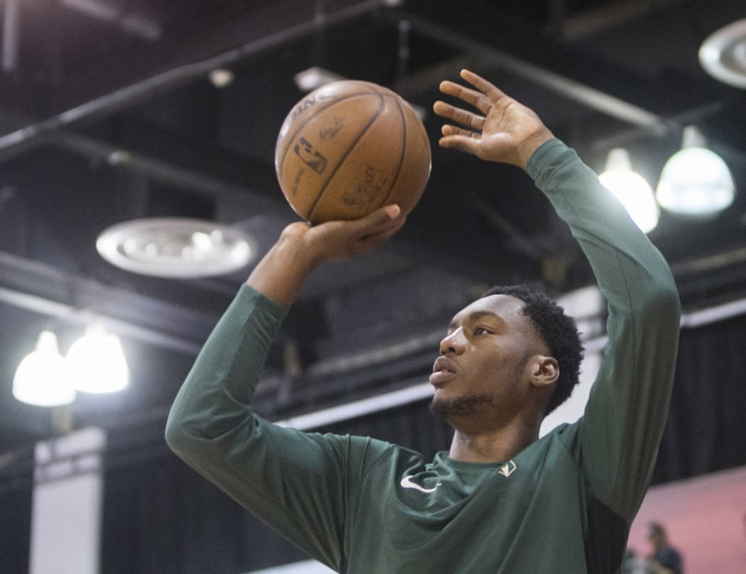 Bucks center Brandon McCoy warms up before the start of Milwaukee's game with the Detroit Pistons during NBA Summer League on Friday, July 6, 2018, at Cox Pavilion, in Las Vegas. Benjamin Hager La ...