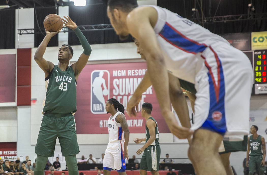 Bucks center Brandon McCoy (43) shoots a free throw during Milwaukee's game with the Detroit Pistons during NBA Summer League on Friday, July 6, 2018, at Cox Pavilion, in Las Vegas. Benjamin Hager ...