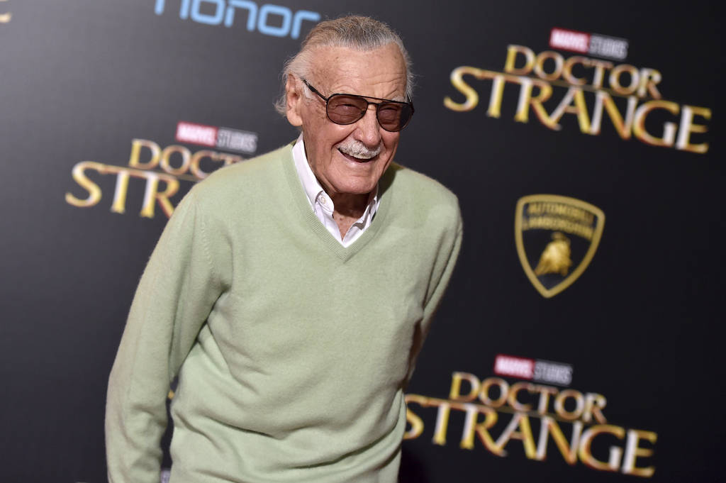 "Stan Lee arrives at the premiere of ""Doctor Strange"" in Los Angeles in 2016. (Photo by Jordan Strauss/Invision/AP, File)"