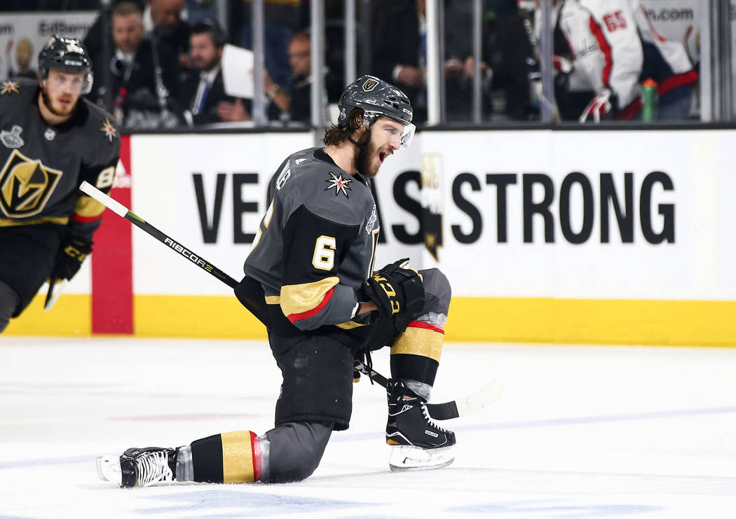 Golden Knights defenseman Colin Miller (6) celebrates his goal against the Washington Capitals during the first period of Game 1 of the NHL hockey Stanley Cup Final at the T-Mobile Arena in Las Ve ...