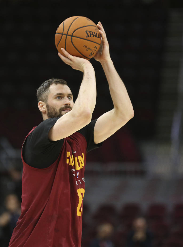 Cleveland Cavaliers center Kevin Love works on his shot following practice Tuesday, June 5, 2018 at Quicken Loans Arena in Cleveland, Ohio. LeBron James and the Cavaliers have spent this strange ...