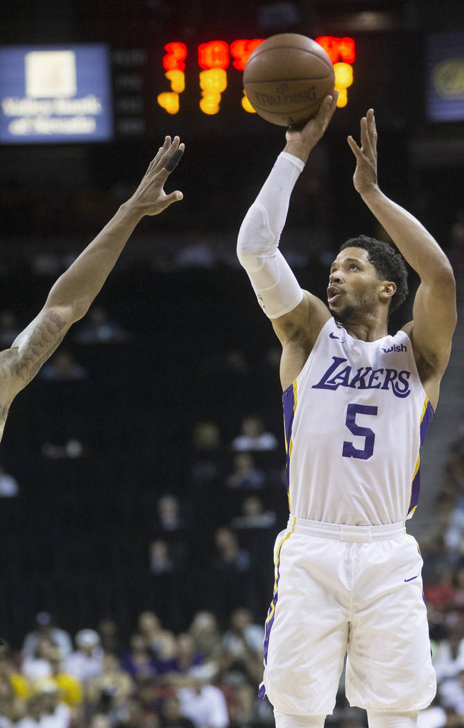 Lakers guard Josh Hart (5) shoots a corner jump shot during Los Angeles' Summer League finals game with the Portland Trail Blazers on Tuesday, July 17, 2018, at the Thomas & Mack Center, in La ...
