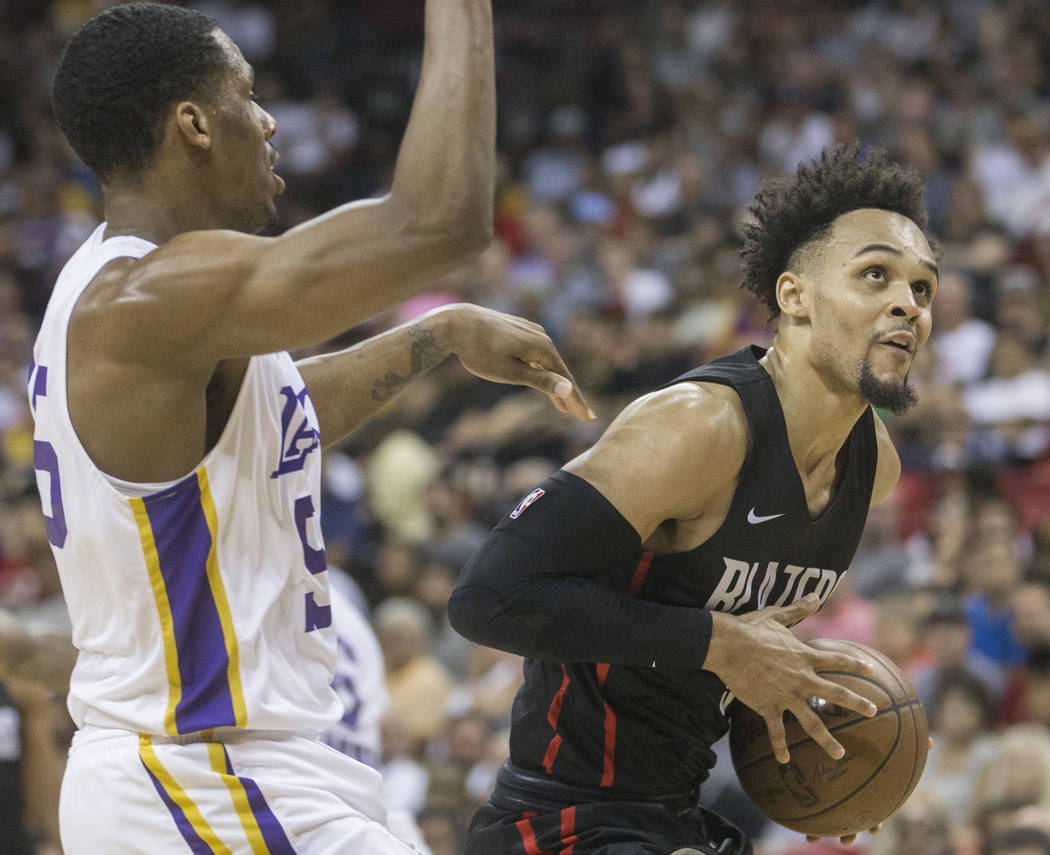 Portland Trail Blazers guard Gary Trent Jr. (9) drives past Los Angeles Lakers forward Nick King (55) in the fourth quarter during the NBA Summer League finals on Tuesday, July 17, 2018, at the Th ...