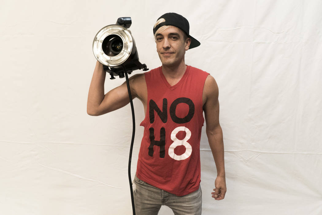 Adam Bouska, co-founder and photographer of the NO H8 campaign, sets up for the photoshoot at The Gay and Lesbian Community Center of Southern Nevada in Las Vegas, Saturday, July 7, 2018. NO H8 is ...