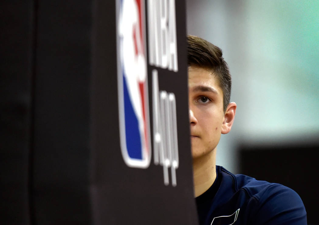 Utah Jazz guard Grayson Allen looks on s his stretches before an NBA summer league basketball game against the Portland Trail Blazer Saturday, July 7, 2018, in Las Vegas. David Becker/Las Vegas Re ...