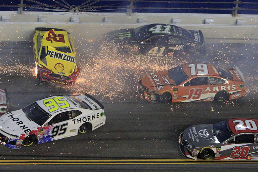 Joey Logano (22) hits the wall as he is involved in a multi-car crash also involving Kasey Kahne (95), Kurt Busch (41), Daniel Suarez (19), Erik Jones (20) and others during the NASCAR Cup Series ...