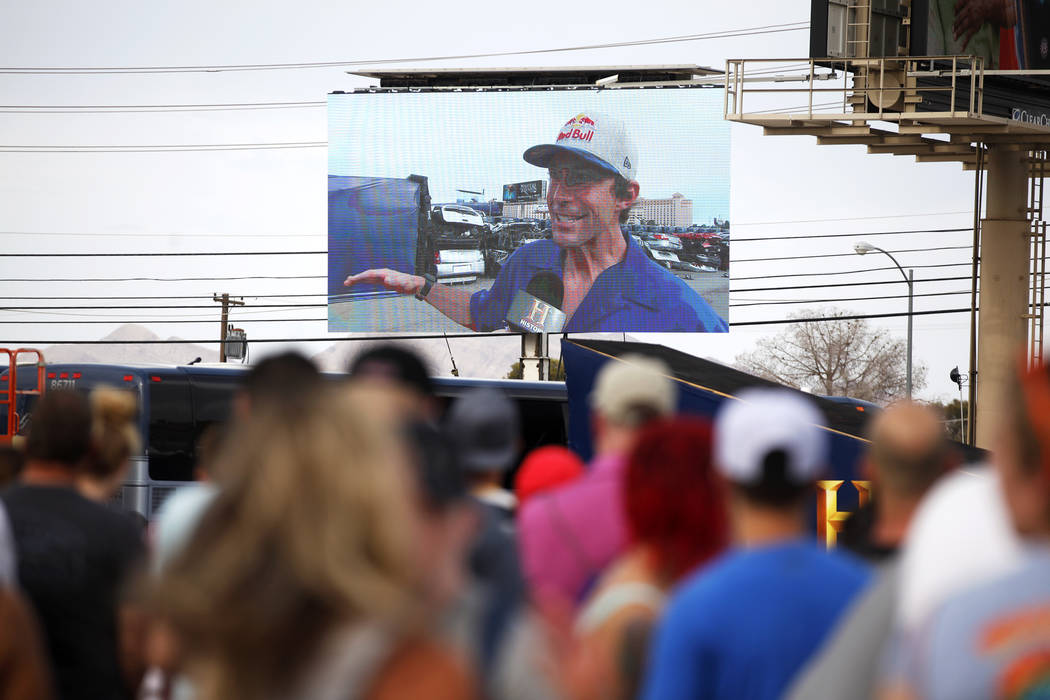 Travis Pastrana speaks about how he's feeling before Evel Live, an event where he will attempt to exceed three of Evel Knievel's famous jumps in a lot behind Planet Hollywood hotel-resort in Las V ...