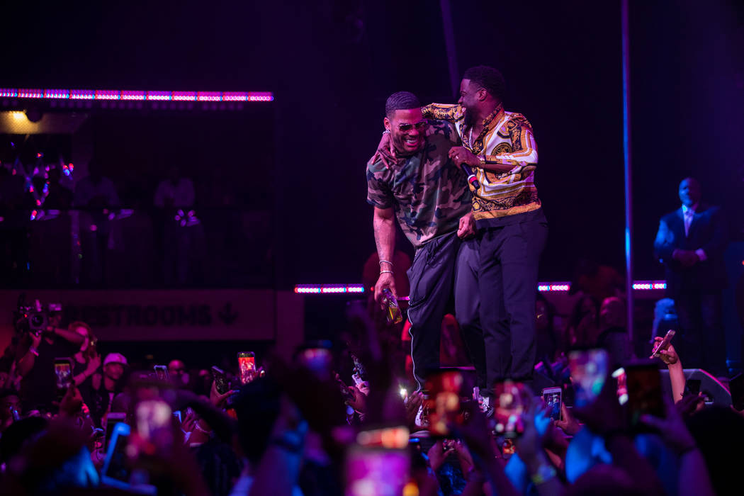 Kevin Hart and Nelly are shown at Hart's birthday party at Chateau Nightclub at Paris Las Vegas on Friday, July 6, 2018. (Tony Tran)