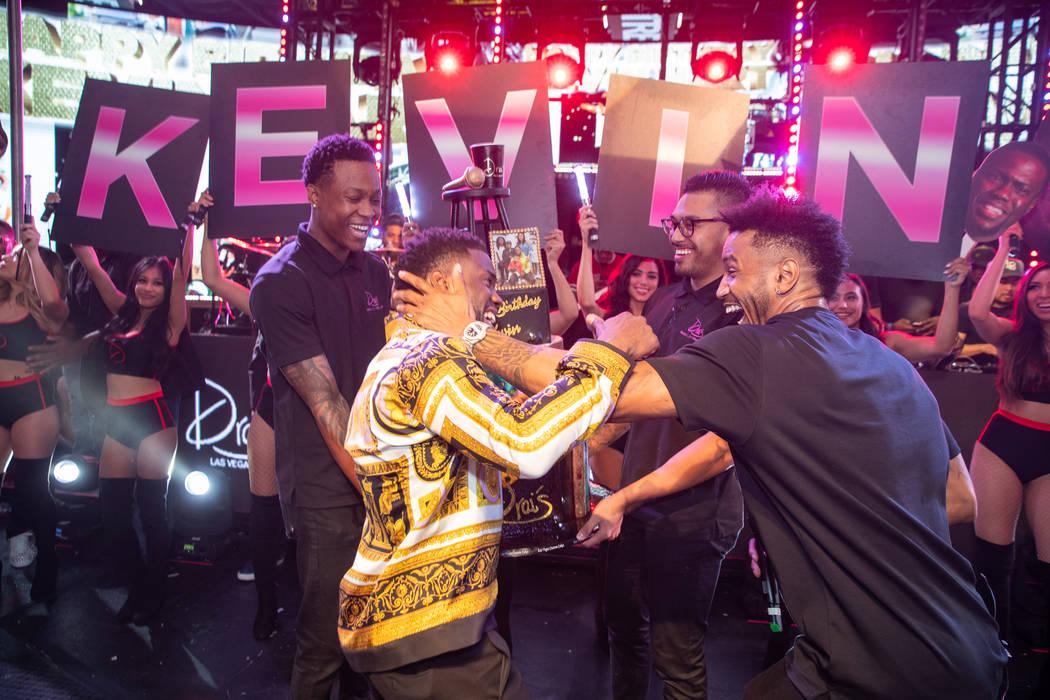 Kevin Hart and Trey Songz are shown at Hart's birthday party at Chateau Nightclub at Paris Las Vegas on Friday, July 6, 2018. (Tony Tran)