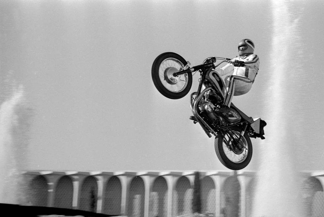 Evel Knievel jumping the fountains at Caesars Palace in 1967. (Las Vegas News Bureau)