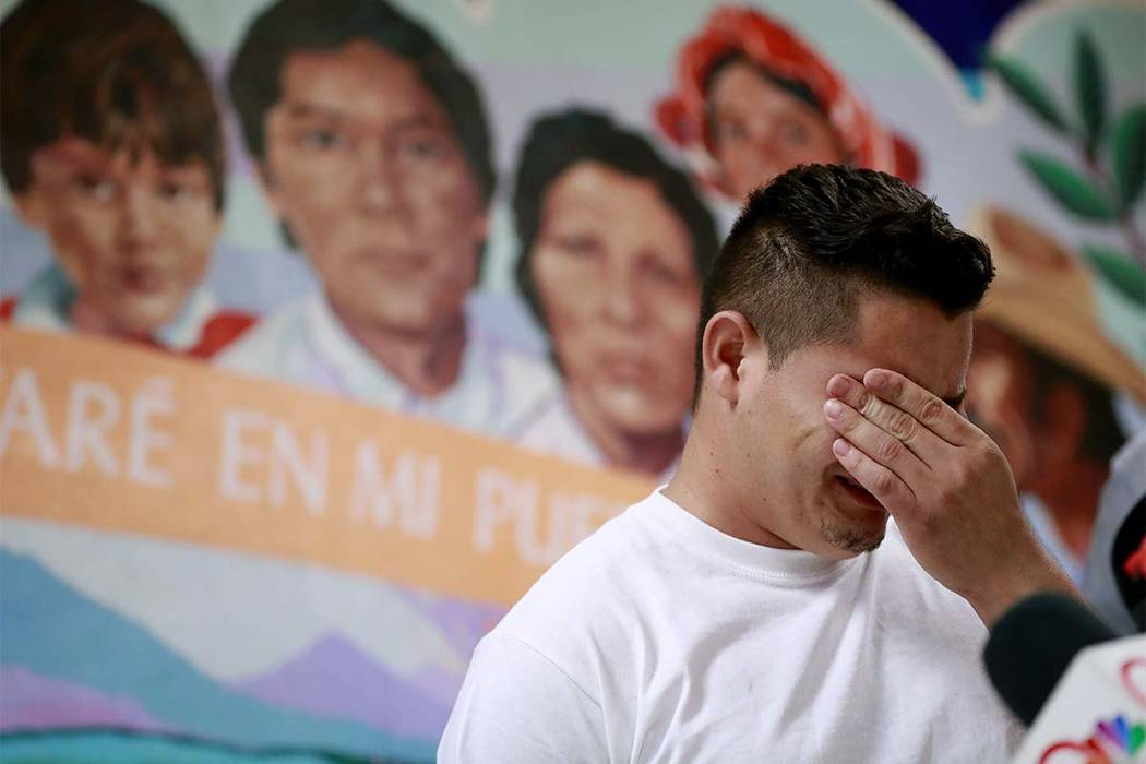 In this June 25, 2018 file photo, Christian, from Honduras, recounts his separation from his child at the border during a news conference at the Annunciation House, in El Paso, Texas. (Matt York/ ...