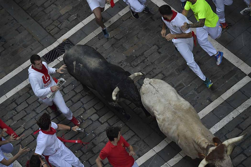 Revelers run next to a fighting bull from the Cebada Gago ranch and a steer during the third day of the running of the bulls at the San Fermin Festival in Pamplona, northern Spain, Monday, July 9, ...