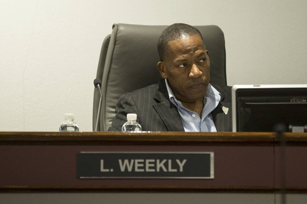 Chairman and Clark County Commissioner Lawrence Weekly during the Las Vegas Convention and Visitors Authority's audit committee meeting at Las Vegas Convention Center in Las Vegas in this 2017 fil ...
