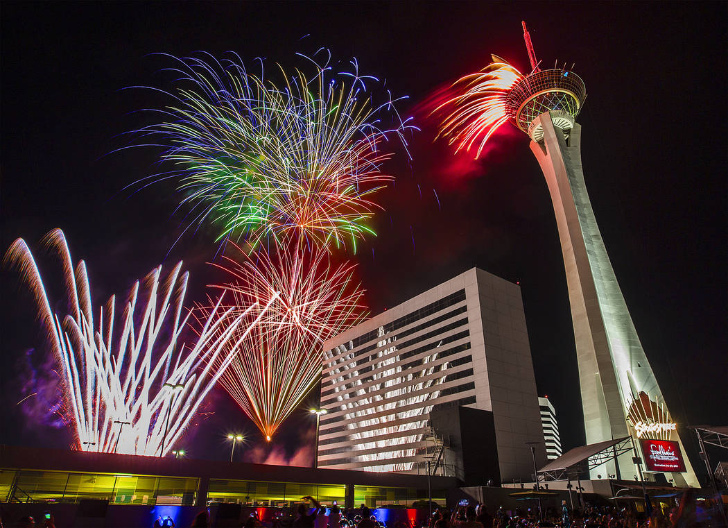 Fourth of July fireworks fill the Las Vegas skyline at the Elation rooftop pool on Wednesday, July 4, 2018, at the Stratosphere hotel-casino, in Las Vegas. Benjamin Hager Las Vegas Review-Journal ...