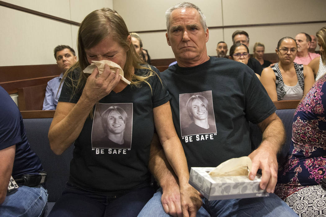 Las Vegas residents Jamie and Steve Minkler, parents of seventeen-year-old Matthew Minkler, who was found dead from a gunshot wound to the head last month, get emotional as the suspects Kody Harla ...