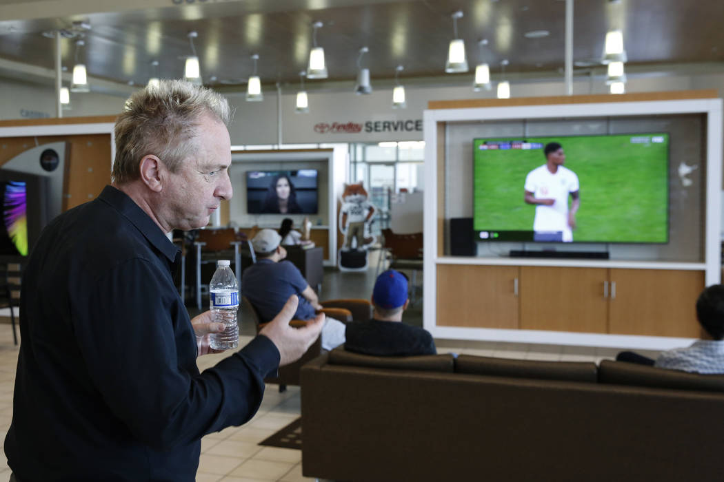 Findlay Toyota General Manager John Barr, watches a World Cup semifinal match between Croatia and England on a TV at Findlay Toyota on Wednesday, July 11, 2018, in Henderson. Bizuayehu Tesfaye/Las ...