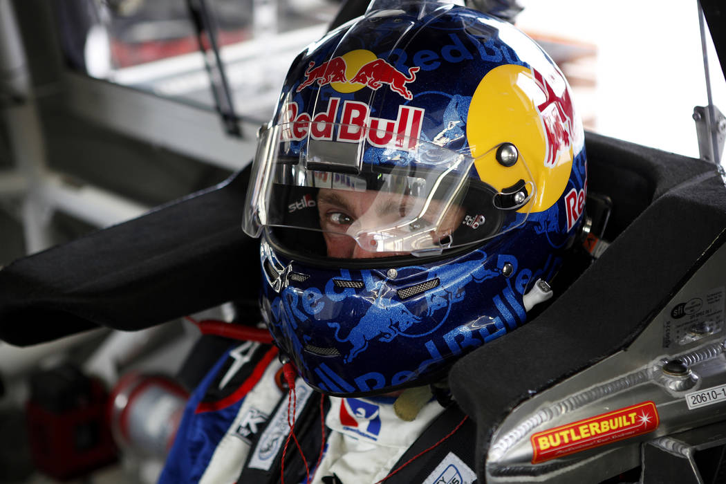 Travis Pastrana sits in his truck during practice for the NASCAR Truck Series Smith's 350 at the Las Vegas Motor Speedway Friday, Sept. 28, 2012. The race takes place on Saturday. (John Locher/Las ...