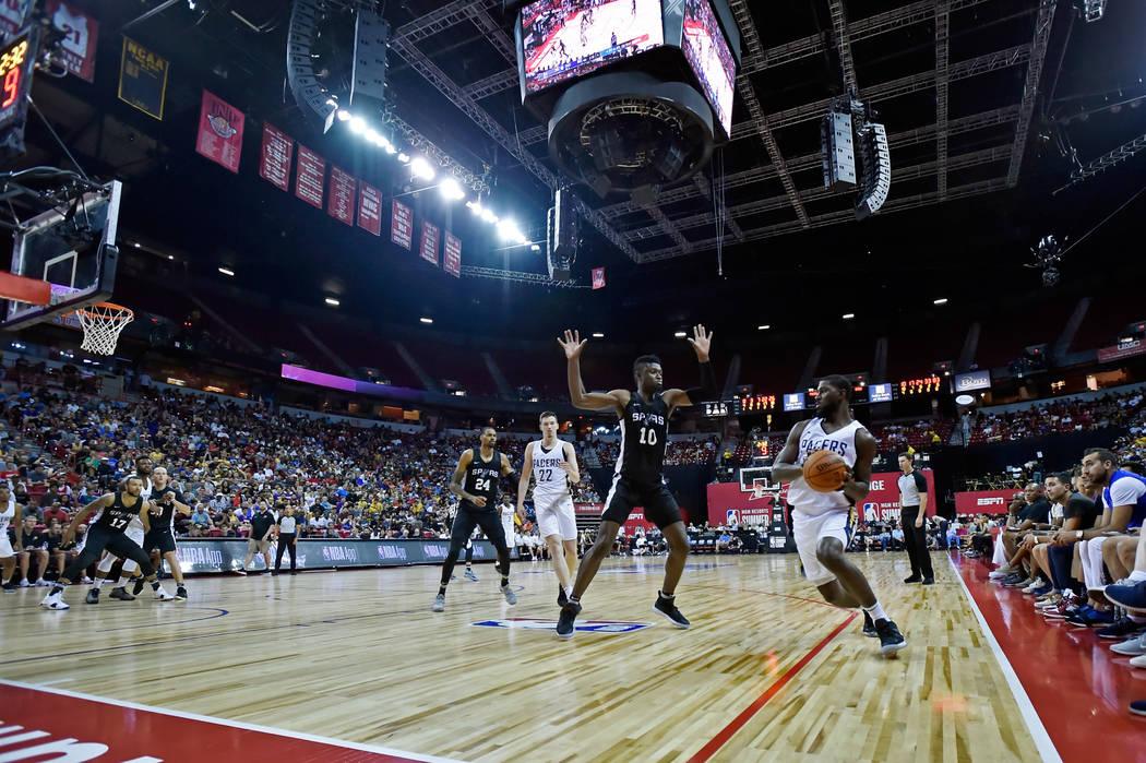San Antonio Spurs forward Chumezie Metu (10) defends against Indiana Pacers forward Alex Poythress during an NBA summer league basketball game Saturday, July 7, 2018, in Las Vegas. David Becker/La ...