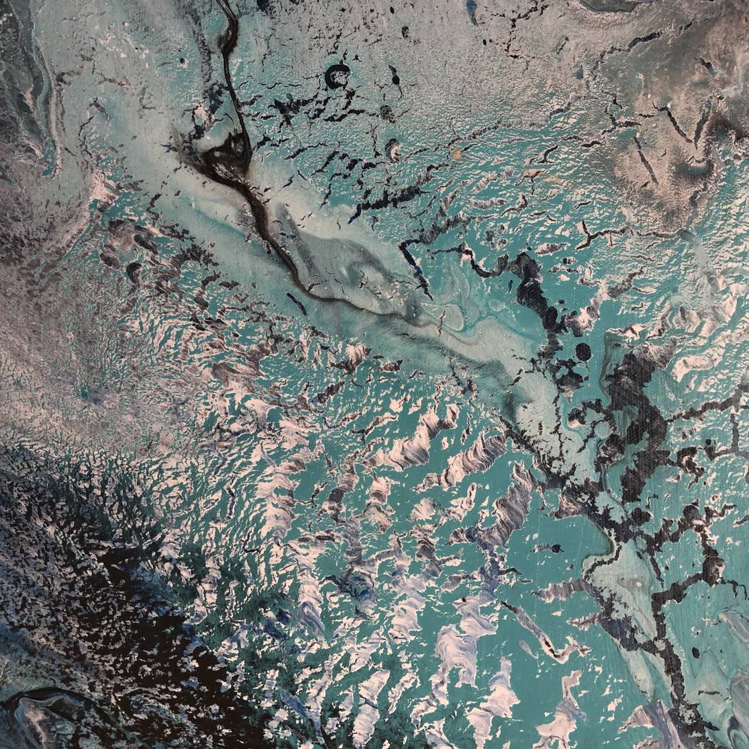 """Abstract acrylic painting from Mark Vranesh's """"Earthscapes"""" exhibit."""