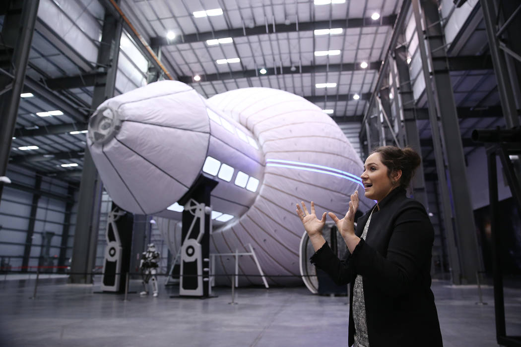 Blair Bigelow, vice president of corporate strategies, gives a tour of the Olympus, an expandable space station module, at Bigelow Aerospace in North Las Vegas, Tuesday, July 10, 2018. Erik Verduz ...