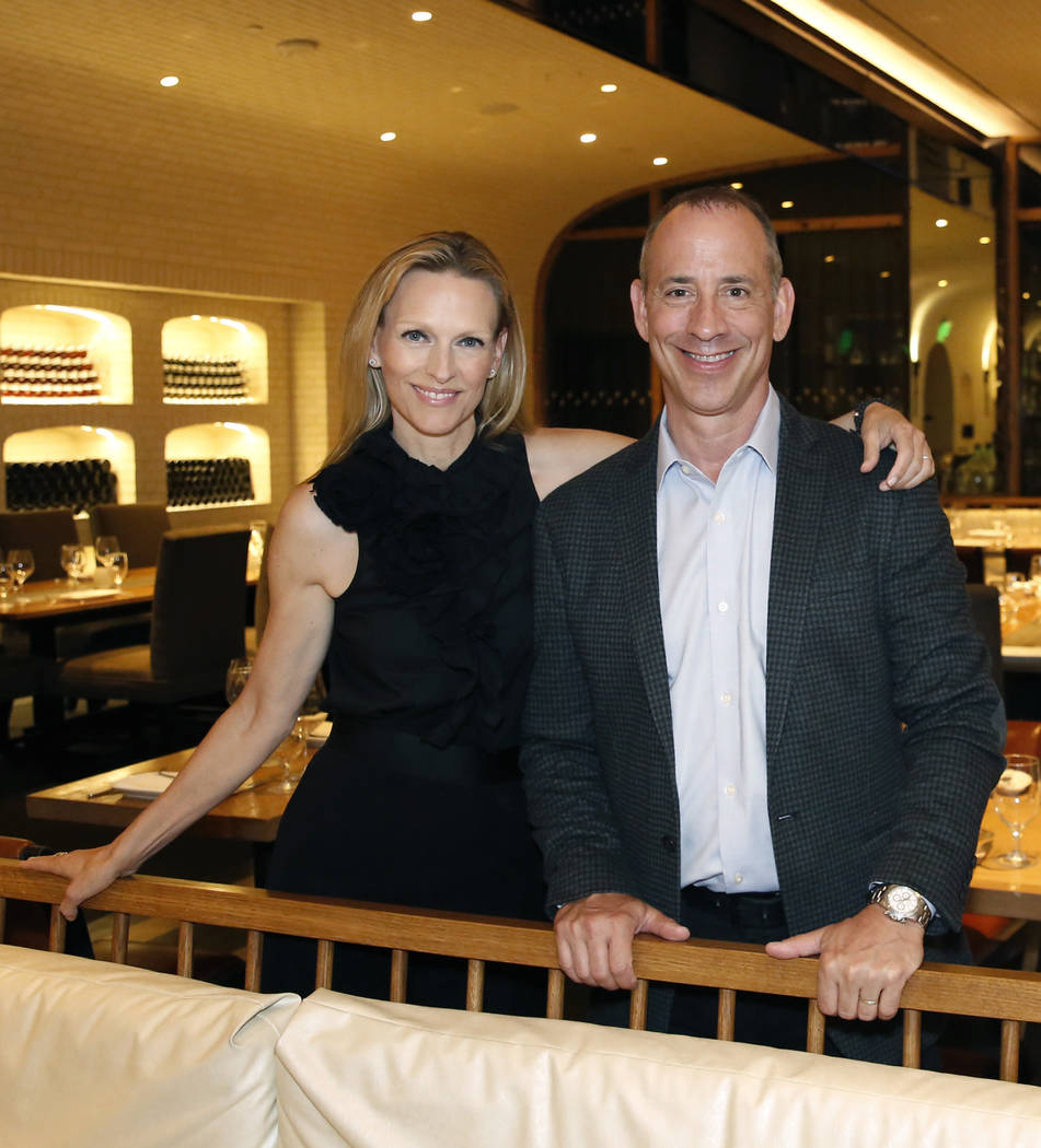 Jenna Morton and her husband Michael, owner of Crush restaurant, pose for photo at their restaurant at the MGM Grand on Monday, July 9, 2018, in Las Vegas. Bizuayehu Tesfaye/Las Vegas Review-Journ ...