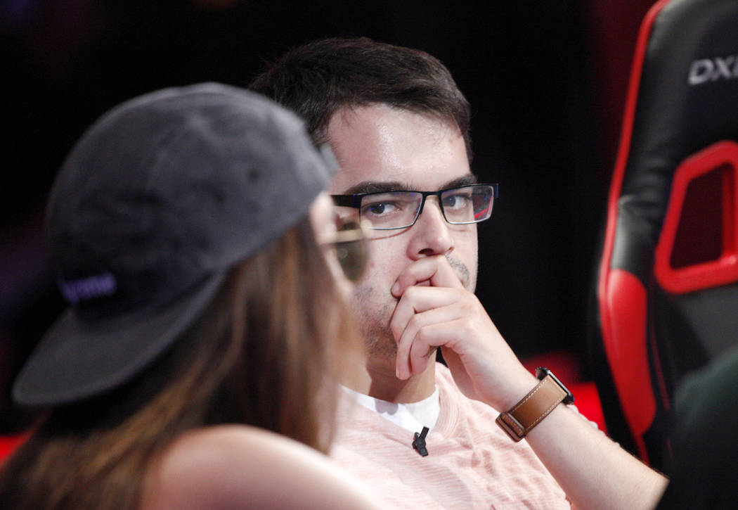 Jaime Kaplan watches Kelly Minkin (center) during day five of the World Series of Poker tournament at the ESPN feature table at the Rio Convention Center in Las Vegas, Monday, July 9, 2018. Rachel ...