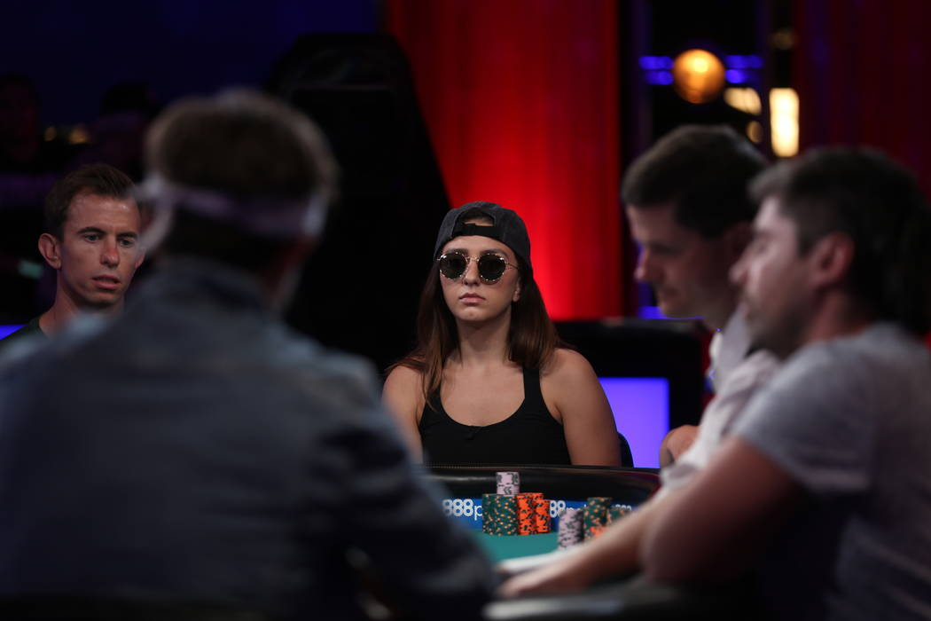 Kelly Minkin during day five of the World Series of Poker tournament at the ESPN feature table at the Rio Convention Center in Las Vegas, Monday, July 9, 2018. Rachel Aston Las Vegas Review-Journa ...