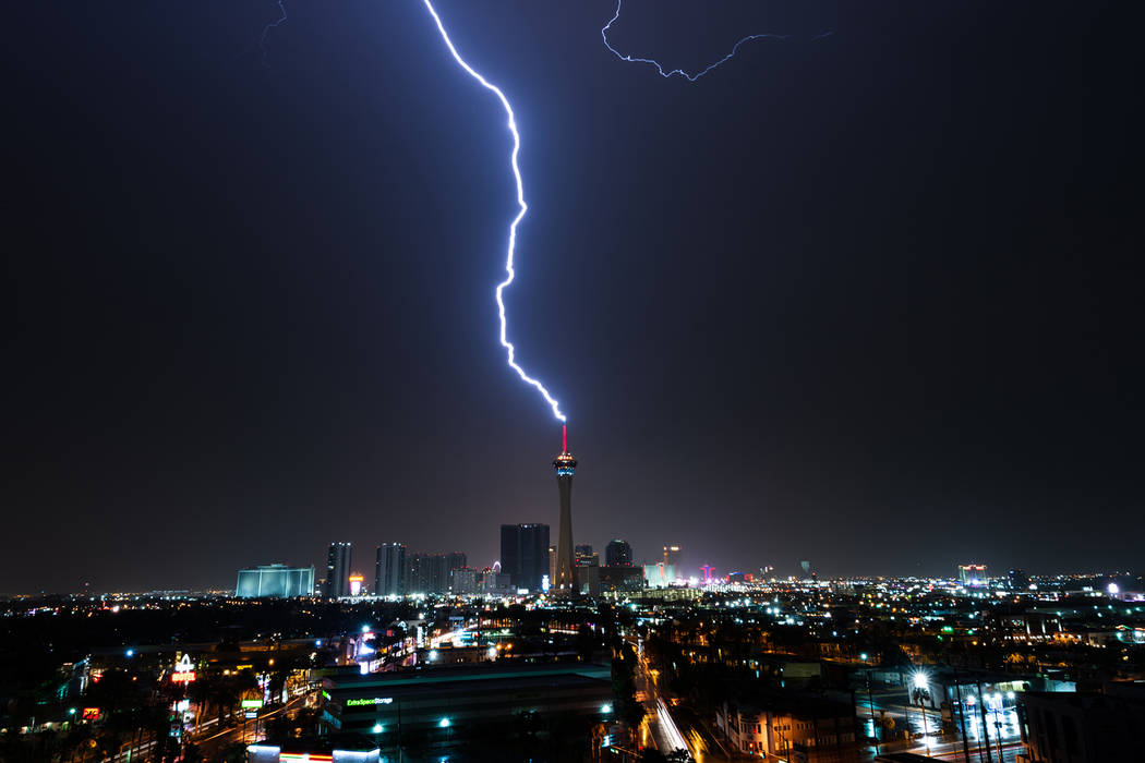 Lightning flashes over the Las Vegas Strip on Monday, July 9, 2018. (Leon Ortiz-Gil via At the Scene)