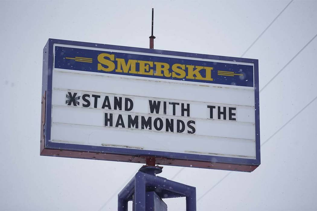 In this Jan. 5, 2016, file photo, a sign shows support for the Dwight and Steven Hammond in Burns, Oregon. (Rick Bowmer/AP)
