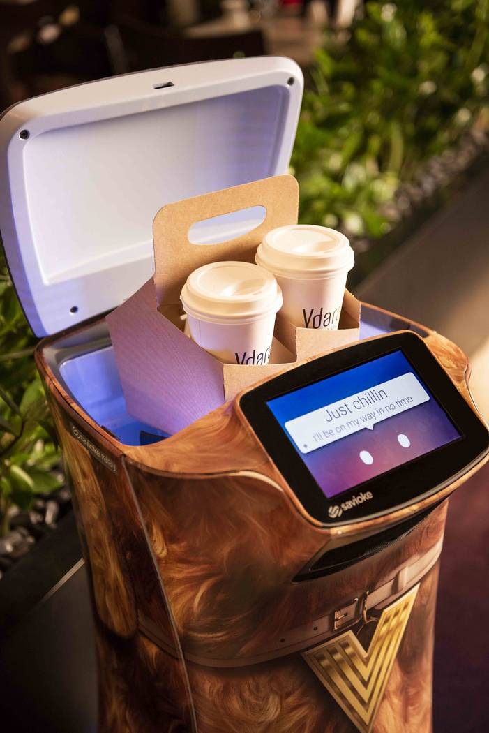 A Relay robot is responsible for delivering snacks, sundries, and even spa products directly to guest suites at Vdara. (MGM Resorts International)