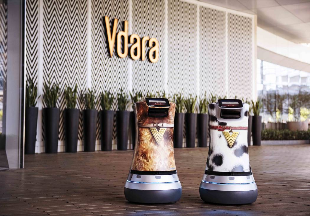 Fetch and Jett are two Relay robots responsible for delivering snacks, sundries, and even spa products directly to guest suites at Vdara. (MGM Resorts International)